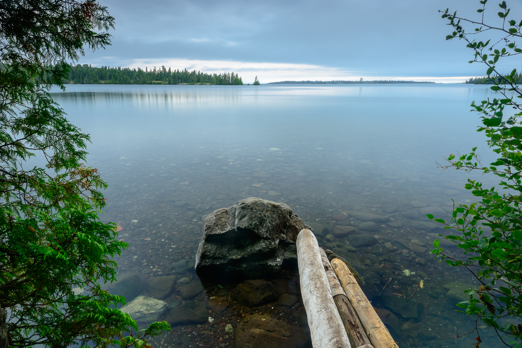 Lane Cove was the highlight of my adventure. Only the distant sound of loons broke the stillness in the air. Lane Cove Campground, Isle Royale, NP.