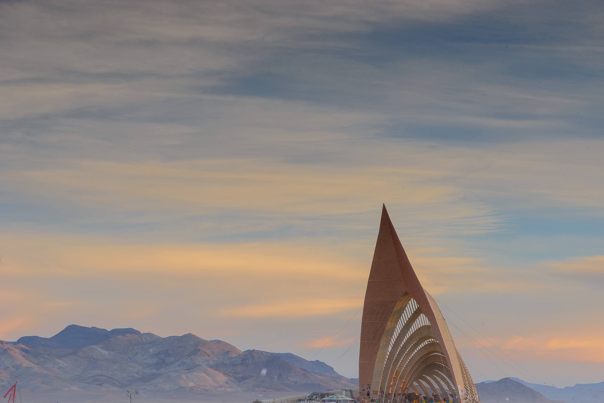 The Temple Of Promise against the softest of desert tones.
