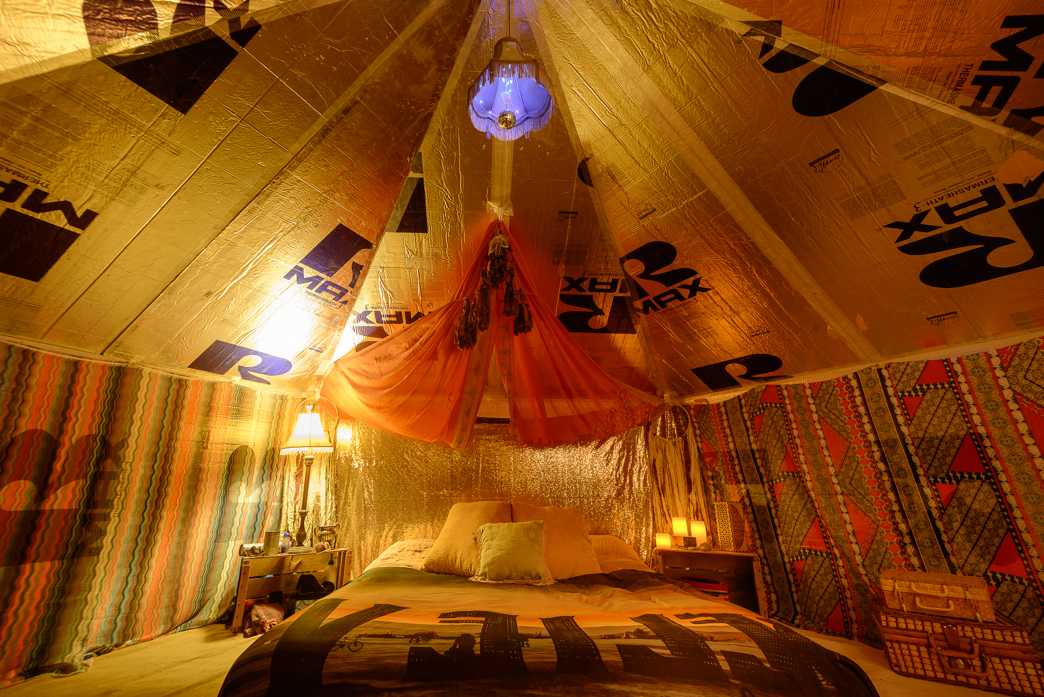 Hotel comfort and gypsy stylings in the harshest of deserts. This is a direct result from previous year's inspirations and influences on the playa.