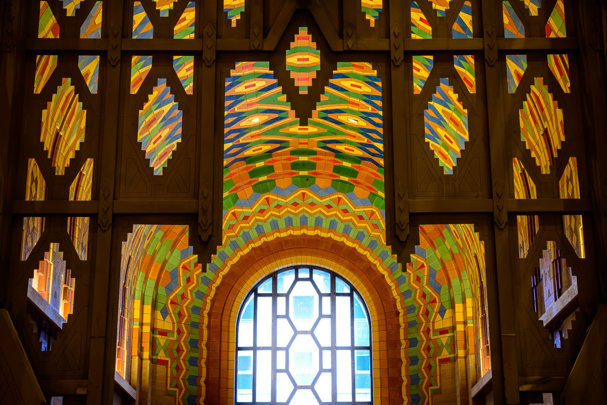 Built in 1928, the arrangement of pewabic tile suggests the craftsmen were of a different, and perhaps more cosmic, time and place.  The Guardian Building, Downtown Detroit.