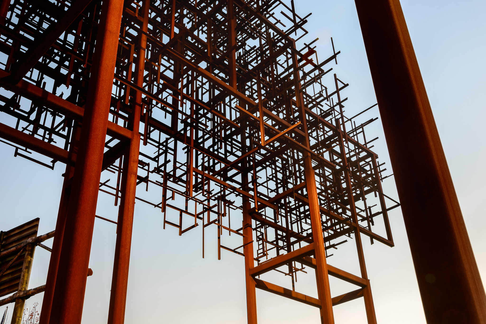 """Inversion: Plus Minus. This east-side public art installation pays homage to Portland's industrial past. Before knowing the actual title we just referred to it as """"that digital fractal thing in the sky."""" I mean that works right? Eastside, Portland."""