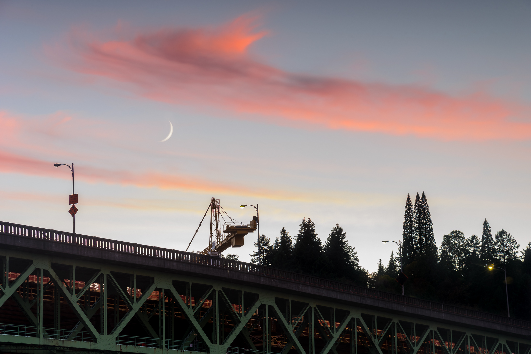 The Sellwood Bridge and a wee sliver of moon welcomed me on my first night in town. Sellwood, Portland.