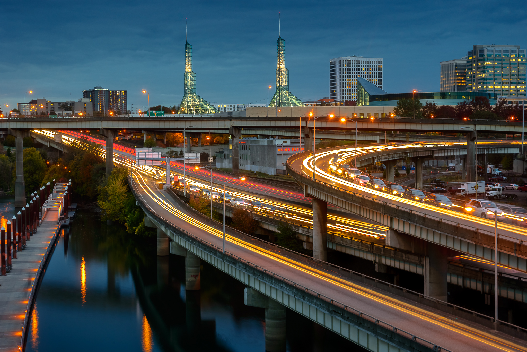 The reason public transportation thrives. Rush hour viewed from the Burnside Bridge. Central Portland.
