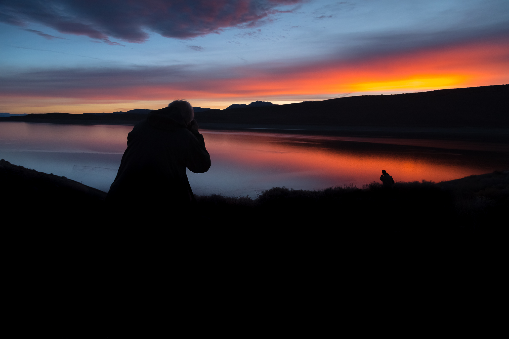 Participants enjoying our first sunrise of the fall workshop.  What a neon dream.  Grant Lake, CA.