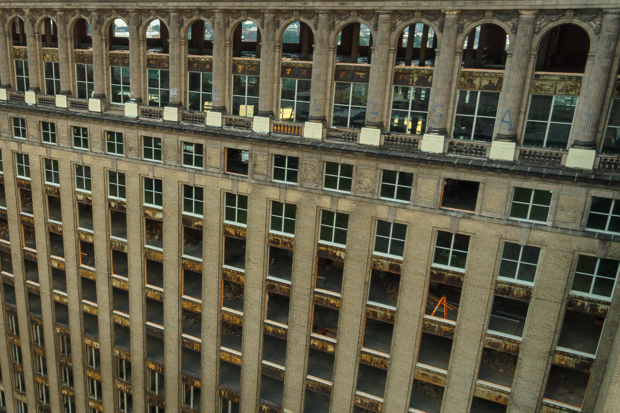 After being secured for years, images showing the internals of the building had become more rare.  This aerial images provides a voyeuristic view that would soon be sealed again.