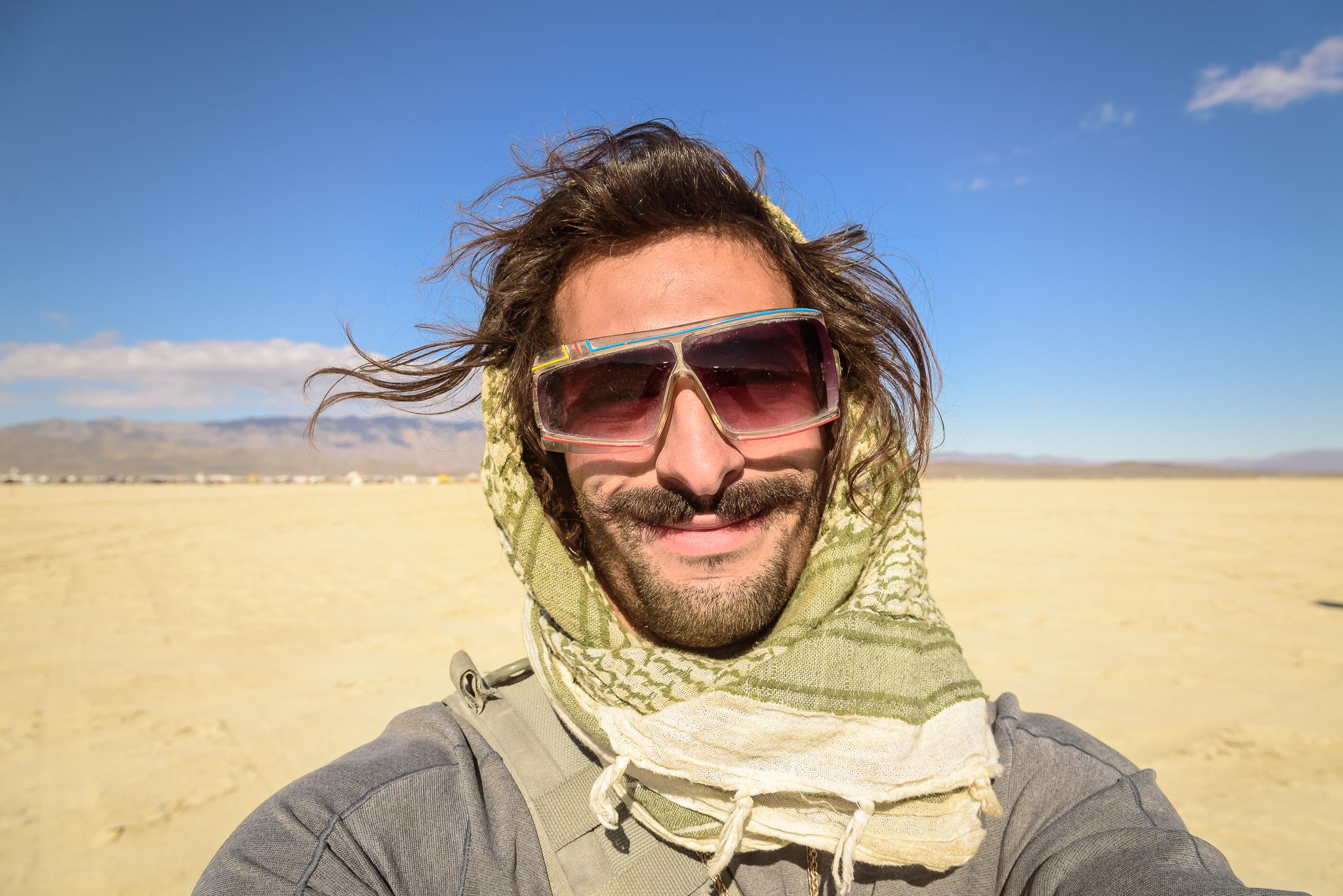 It's rare, but that's me, taken by me. Burning Man.