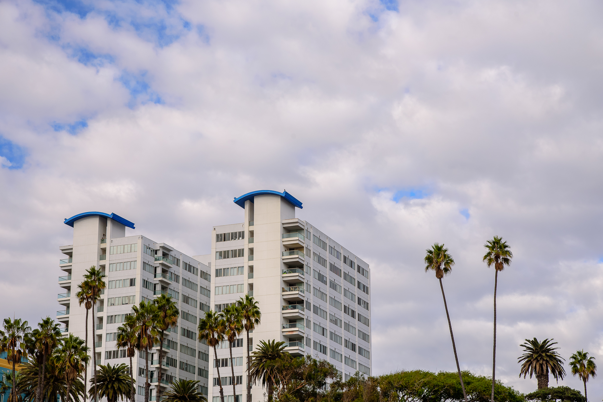 Ocean Ave hotels commanding the coast.  Santa Monica, CA.