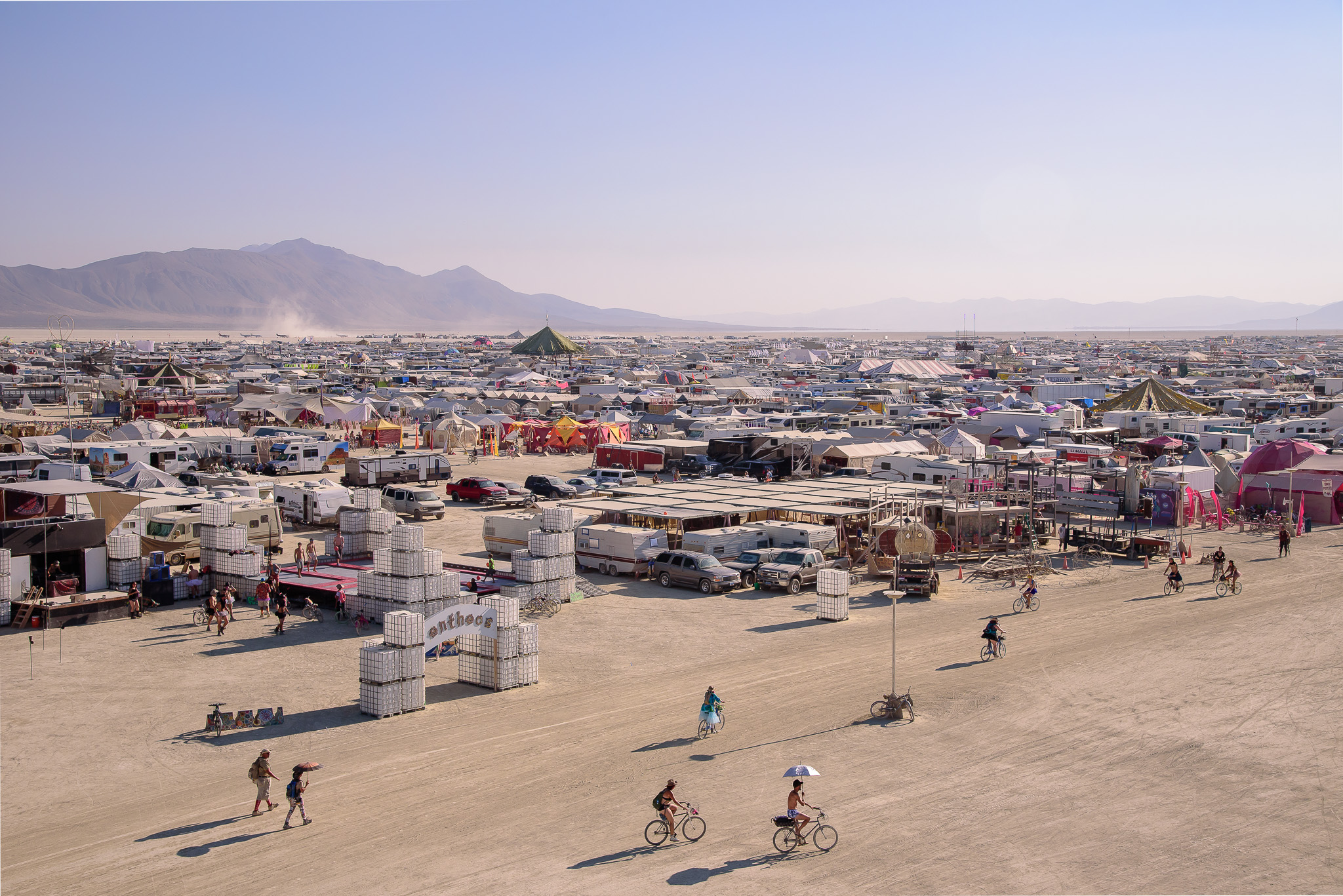 View from atop The Lodestar sculpture. 35-40ft above the playa really shows a whole new world. Black Rock City, NV.