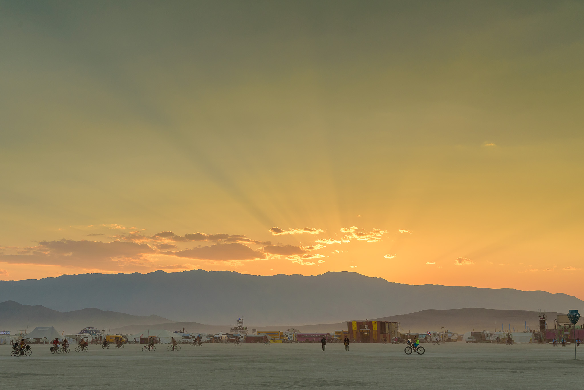 A proper sunset set send off on Friday, just as the city's energy was rising. Black Rock City, NV.