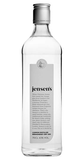 Jensen's Bermondsy London Dry Gin | £26  After tasting vintage gin from a long-lost London distillery, Christian Jensen set out to create an uber-traditional London Dry using only botanicals available in the 1800's (no cucumber or seaweed here). Made at a small distillery located in railway arches near London Bridge, this is a gloriously traditional juniper-led gin with a strong pine note from the Italian juniper berries, and a touch of violets, spice and herbs. Rich and complex yet subtle and smooth. Delicious in a dry Martini, or a classic G&T with premium Indian tonic water and lemon or lime.