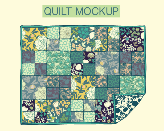 quilt designed using the mini collection in both colour-ways