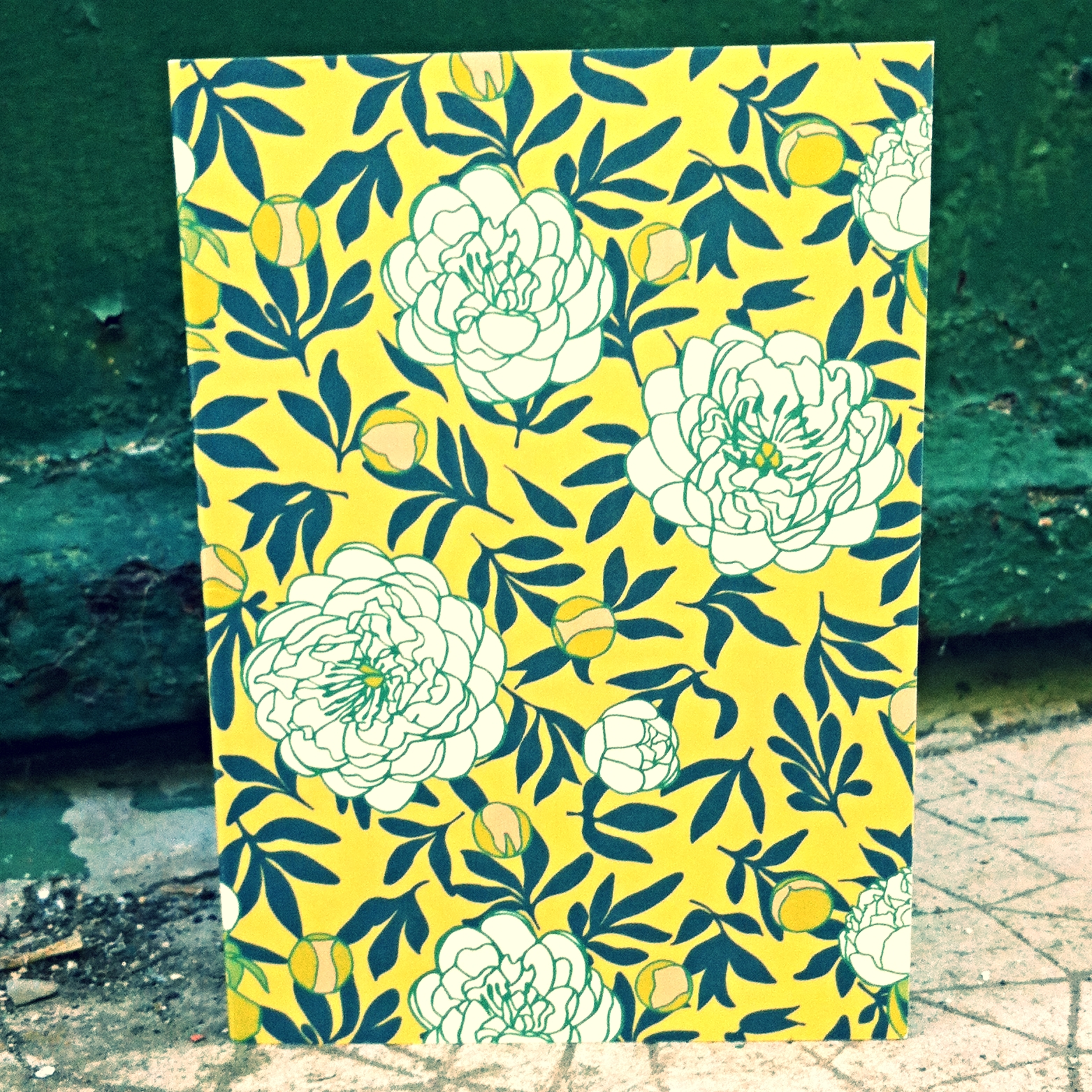 """ lactiflora in mustard "" greetings card by Pippa Shaw"