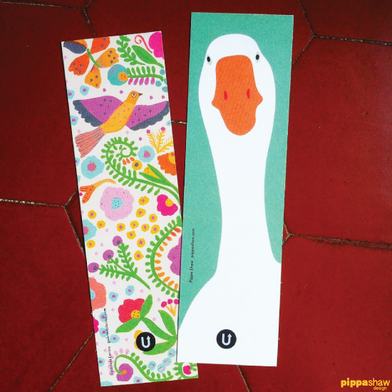 My Silly Goose design was paired with this lovely Folk Dove and Flowers pattern by Gabriela Larios