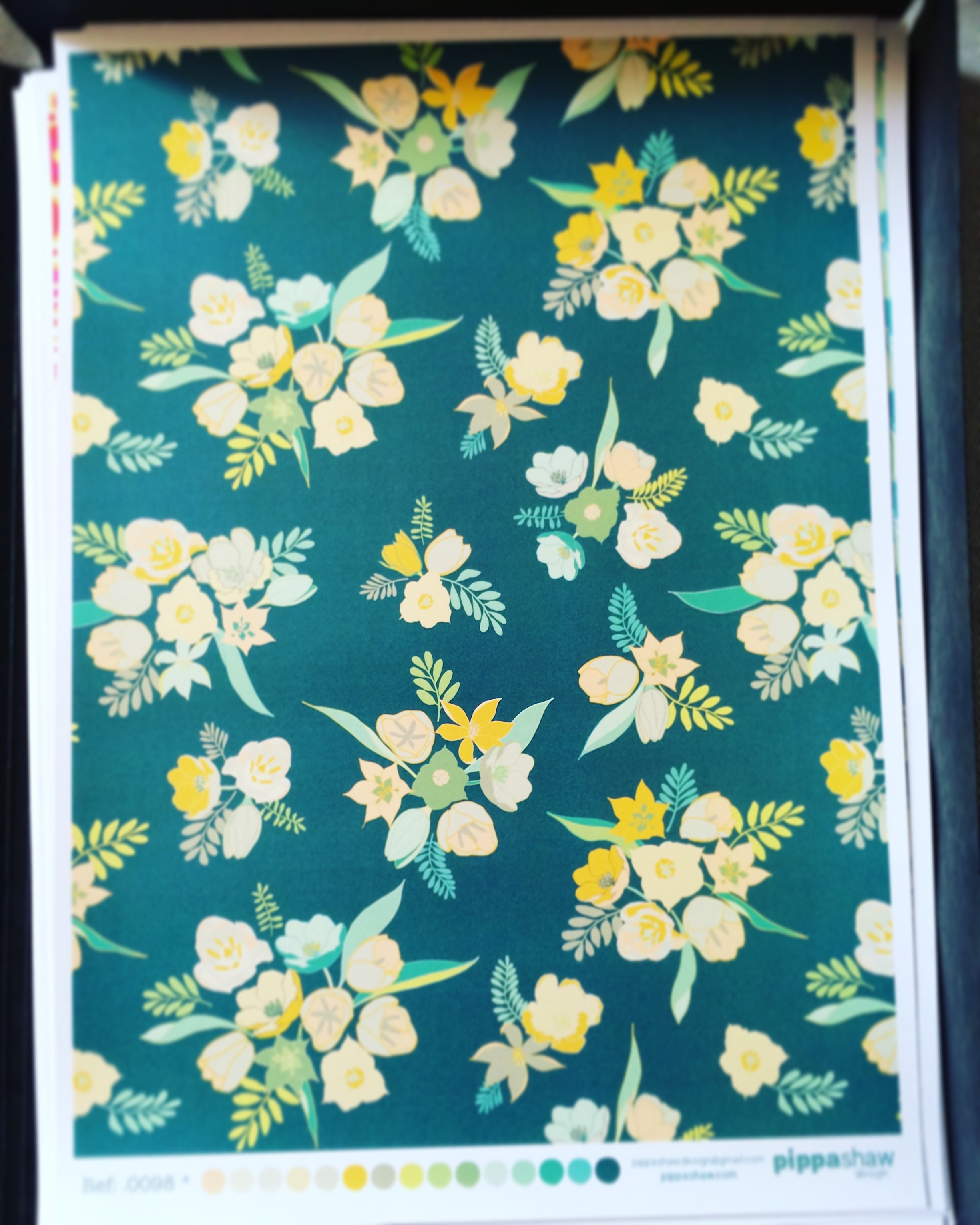 my vintage tulip design printed on an A3 sheet to show to clients