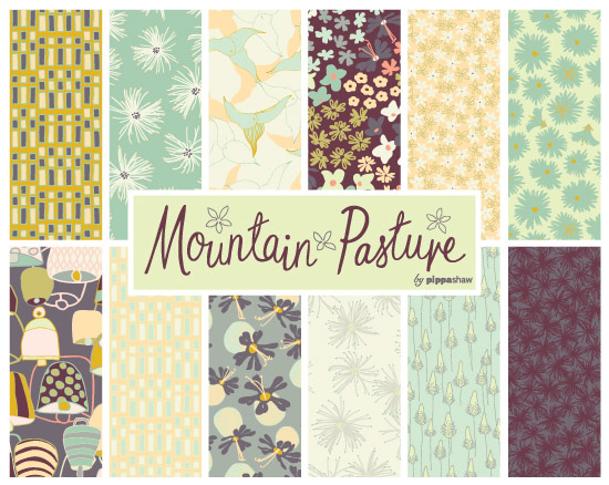 Mountain Pasture collection, a sister collection of Altitude of mainly floral patterns inspired by the wildflower meadows of the Alps