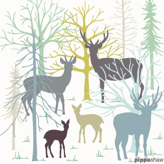 Deer and stags in a snowy wood