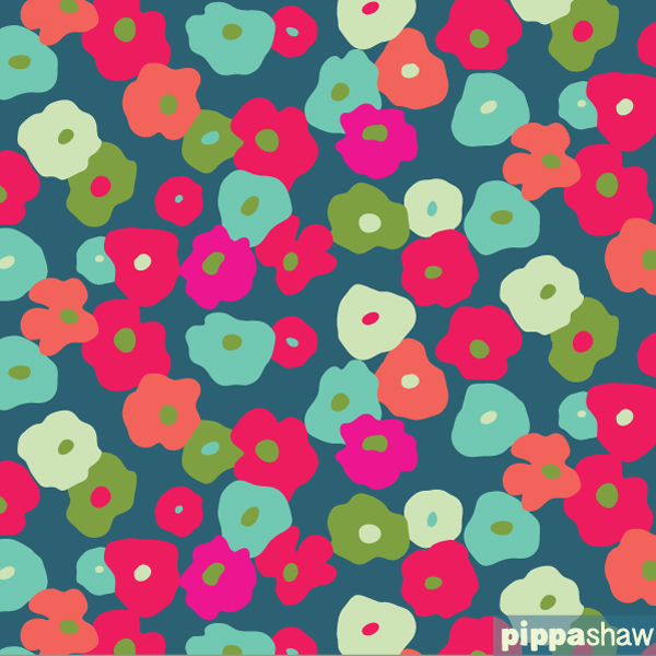 'nasturtium flowers collage' repeat pattern