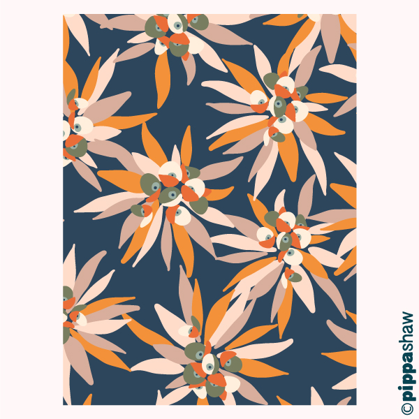 I can imagine this euphorbia design printed on silk dress fabric for Fall/Winter, or it could make some striking wallpaper or even a statement rug...