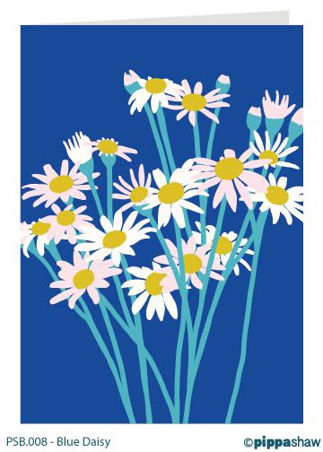 Blue Daisy Greetings Card by Pippa Shaw