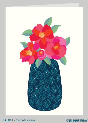 Camellia Vase Greetings Card by Pippa Shaw