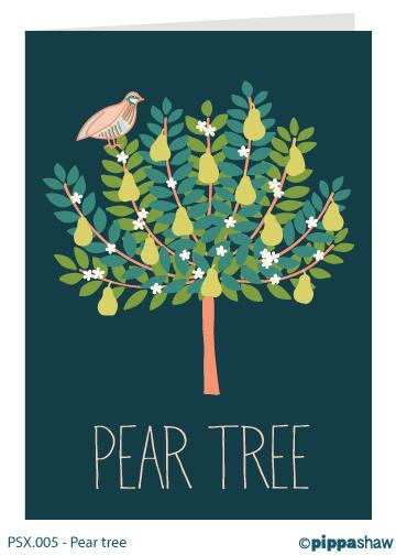 Pear tree Christmas card by Pippa Shaw
