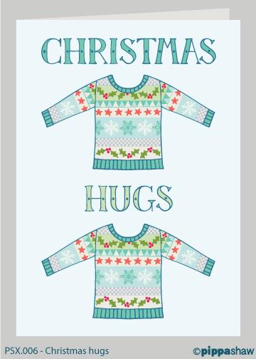 Christmas hugs Christmas card by Pippa Shaw
