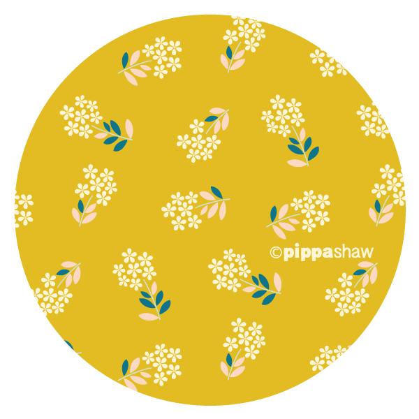 retro sprigs pattern in mustard