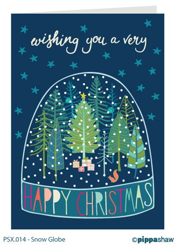 Snow Globe Christmas card by Pippa Shaw