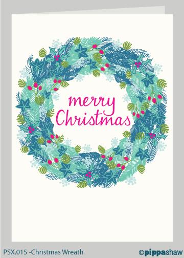 Christmas Wreath Christmas card by Pippa Shaw
