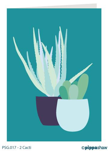 2 Cacti Greetings Card by Pippa Shaw