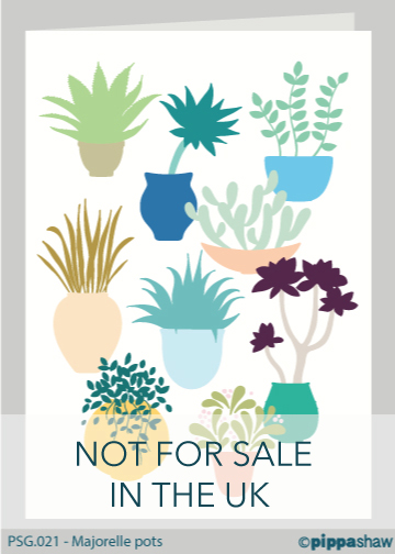 Majorelle Pots Greetings Card by Pippa Shaw