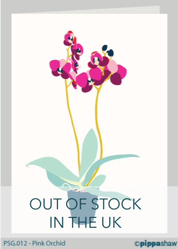 Pink Orchid Greetings Card by Pippa Shaw