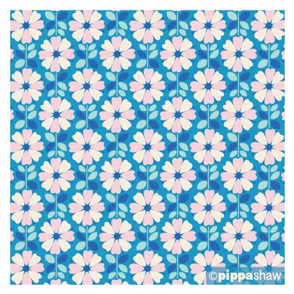 'Eight Petals' in blue, from midsommar collection for FIGO Fabrics