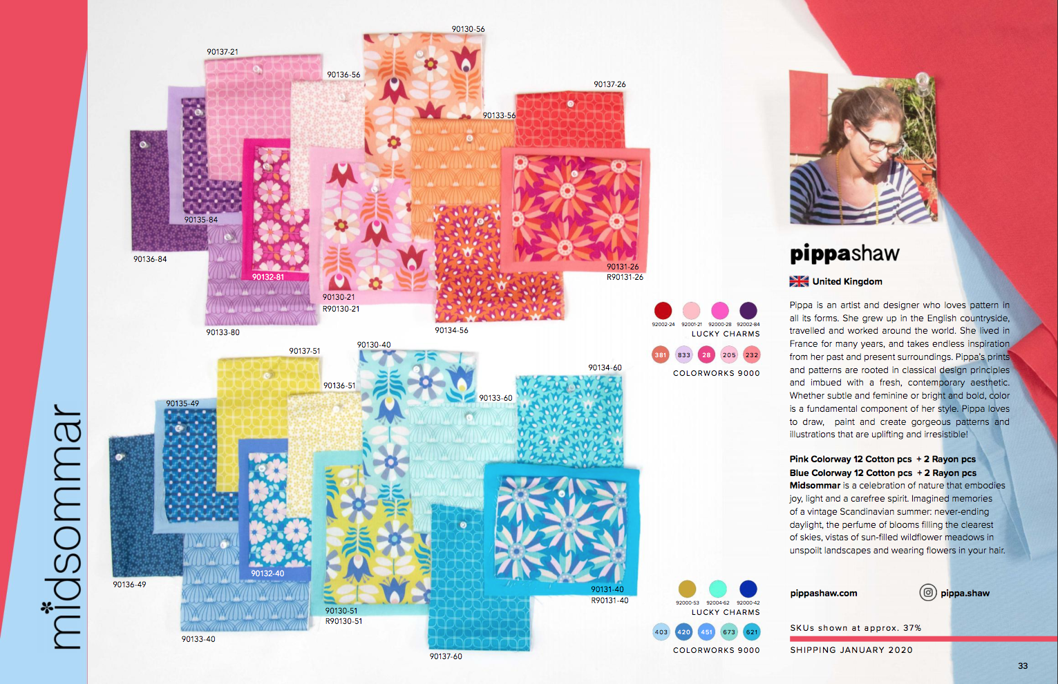 the full midsommar collection (in pink and blue colour-ways) featured in the FIGO lookbook (pages 34-35)