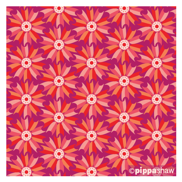 'Windmill Flower' in red, available in quilting cotton and rayon, from midsommar collection for FIGO Fabrics