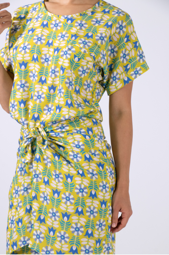 Tie Dress made with Retro Tulip rayon in mustard, from midsommar collection for FIGO Fabrics (pattern by  Charlotte Kan )
