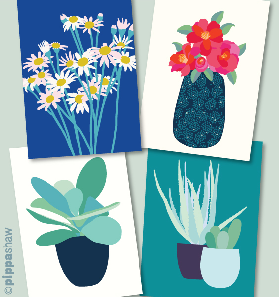 a selection of my own label greetings cards