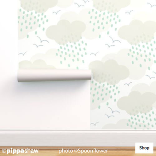 Rainy Day wallpaper large scale in warm grey by Pippa Shaw
