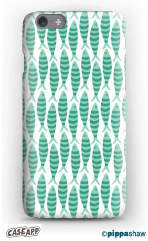 Stripy sardines phone case in green by Pippa Shaw