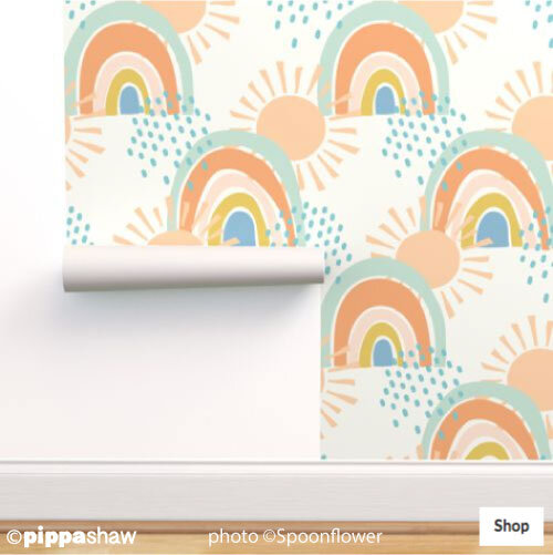 collage rainbows wallpaper by Pippa Shaw