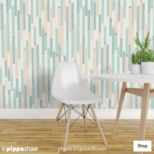 Overlapping stripes wallpaper by Pippa Shaw