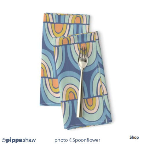 Rainbow wave napkins by Pippa Shaw