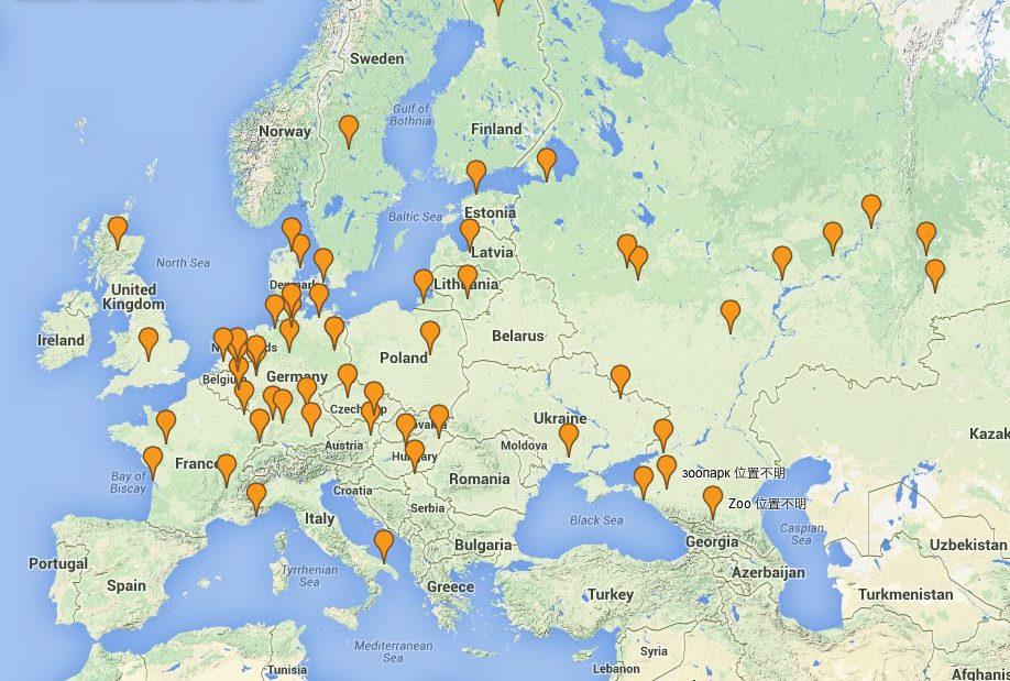 歐洲區白熊圈養位置圖 (2014, 7月)