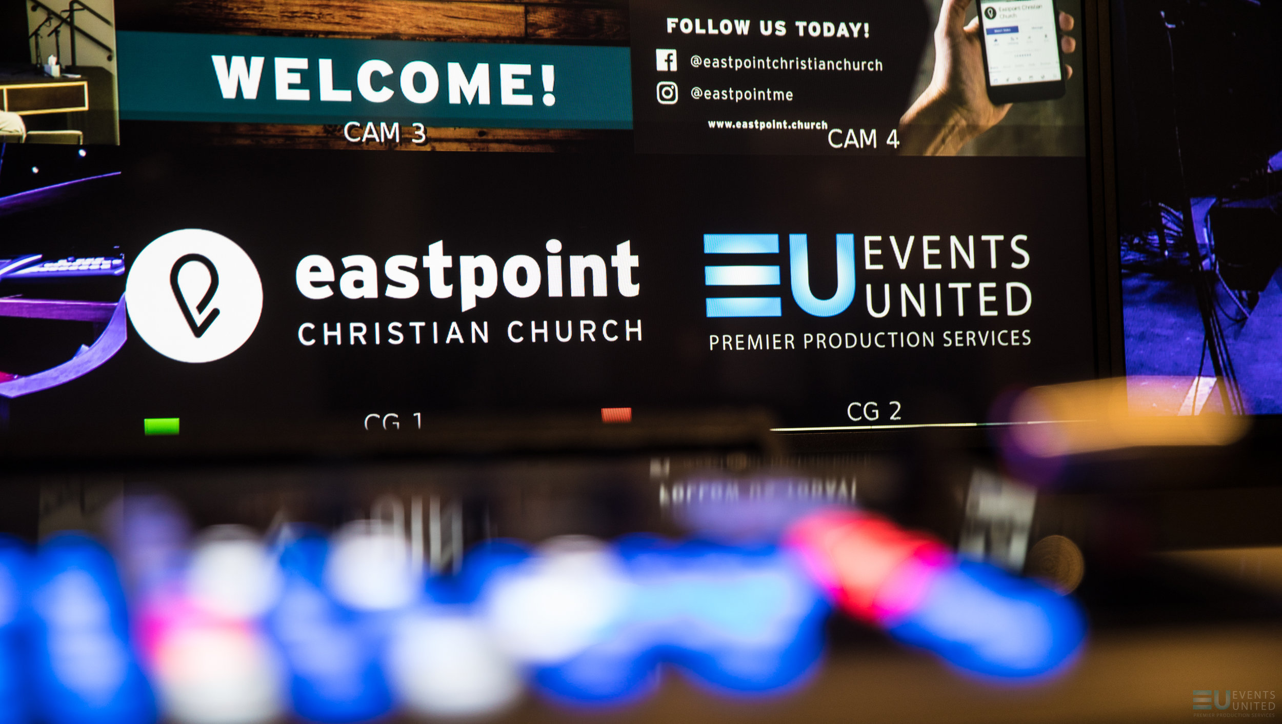PHOTO ABOVE: EVENTS UNITED DESIGNED AND INSTALLED THE AVL SYSTEM AT EASTPOINT CHRISTIAN CHURCH -ALL PHOTOS COURTESY OF EVENTS UNITED.