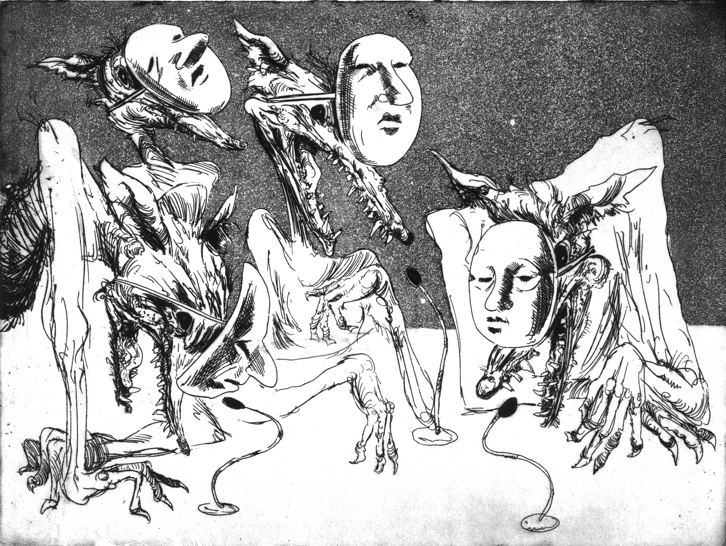 Oil executives pretending to be human. Etching and aquatint