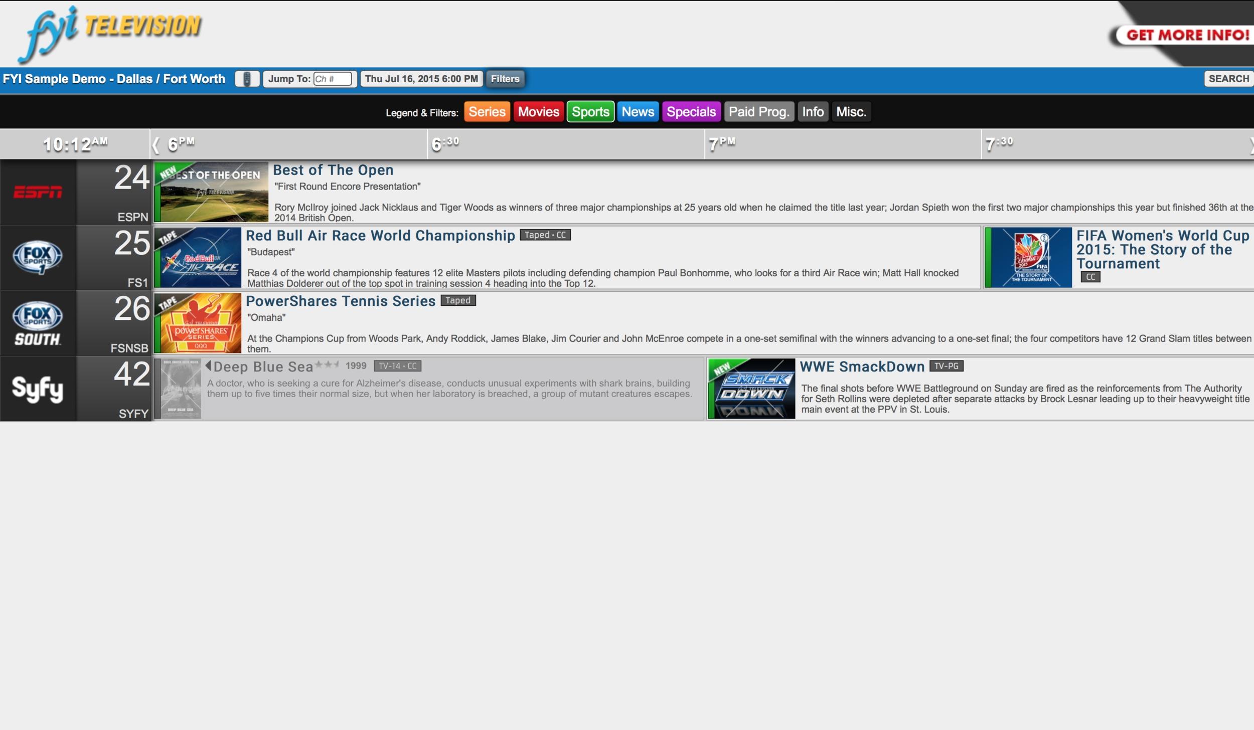 FYI Online Demo Filter Example