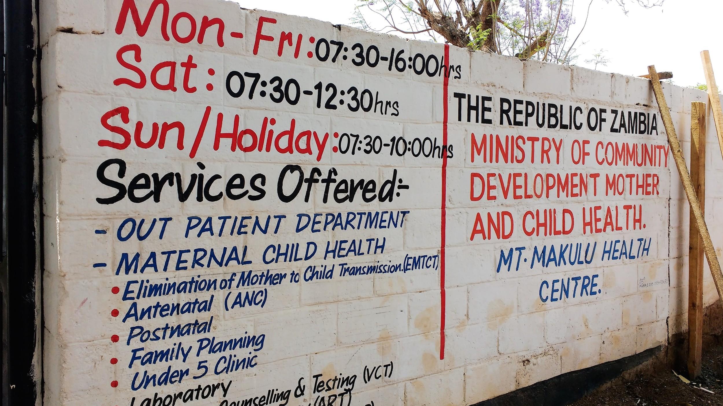 Mount Makulu Rural Health Centre, Chilanga, Zambia