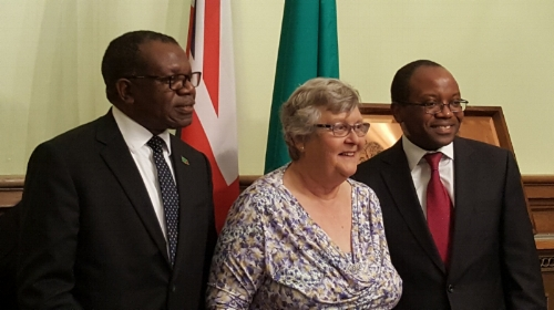 From left to right:His Excellency Mr Muyeba Chikonde,Baroness Lynda Chalker, Mr James Phiri (Charity Ambassador).