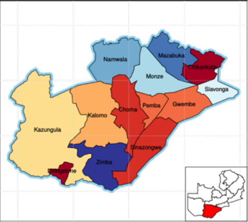 Southern Province - - Home of the famous Victoria Falls- Shares Lake Kariba with neighboring Zimbabwe.- Capital: Livingstone- Population: 1.85 million- Health facilities: 101