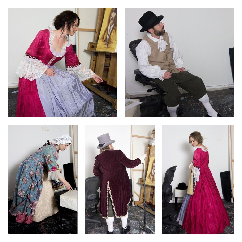 Models in period costumes for reference photos.